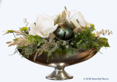 A White Christmas ***Faux Flowers***Silver Bowl