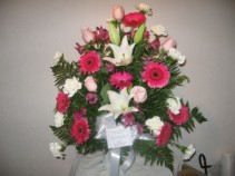Standing basket-gerbs and lilies