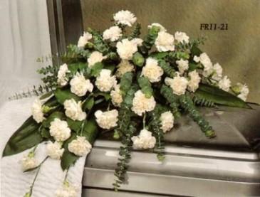white carnation half casket spray Funeral Flowers
