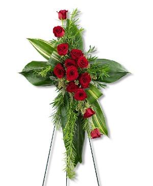 Abiding Love Cross Sympathy in Nevada, IA | Flower Bed