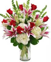 Abundance of Love roses lilies hydrangea