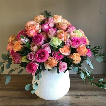 Abundance of Roses Vased Roses