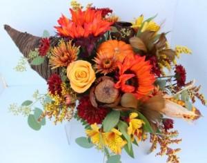 Abundant Autumn Cornucopia Fresh flower centerpiece in Troy, MI | DELLA'S MAPLE LANE FLORIST