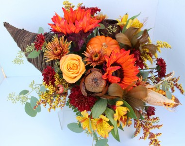 Abundant Autumn Cornucopia Fresh flower centerpiece