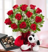 Abundant Love Bouquet Roses, Bear & Chocolates