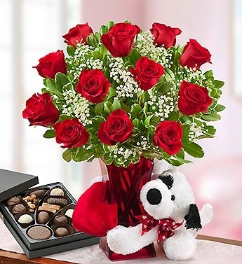 Abundant Love Forever Roses Bear Harry London Chocolates