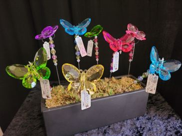 Acrylic butterfly plant stake
