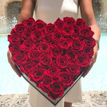 Acrylic Heart Shaped Rose Box  Real Roses box