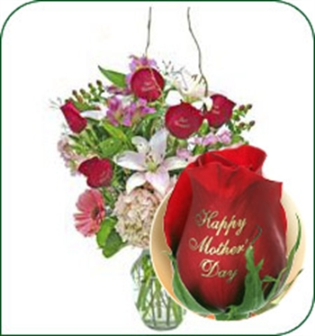 Add a Happy Mothers Day Speaking Rose
