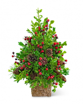 Adorned Boxwood Tree Flower Arrangement