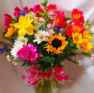"""SUNNY AND BRIGHT"" FLOWERS ARRANGED IN A VASE!"
