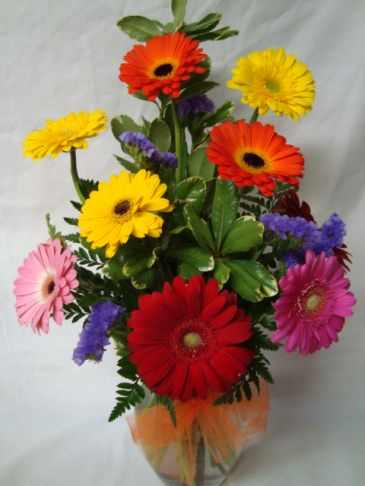 """""""Daisy Favorite"""" 10 mixed Gerbera Daisies arranged  in a vase with purple status!!"""