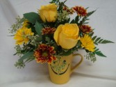 Happy face mug with yellow roses and fall flowers!