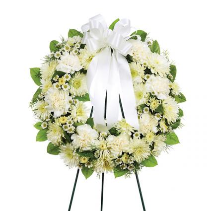 Al White round wreath Sympathy