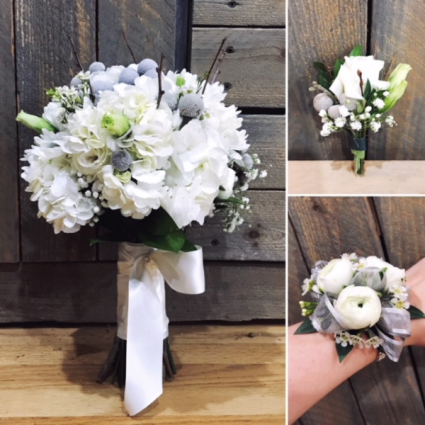 All 3, bridal, bout and corsage
