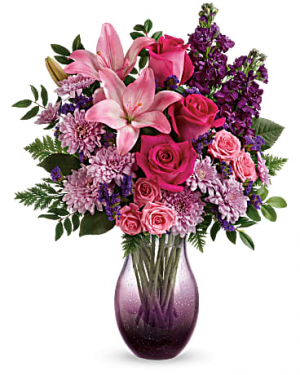 Purple Elegance Mother's Day Bouquet Vase Arrangement in Canon City, CO | TOUCH OF LOVE FLORIST AND WEDDINGS