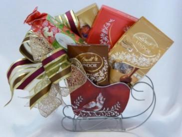 Sleigh Full of Chocolates- Christmas Gift Baskets Chocolate Gift Baskets  Christmas Corporate Gift Baskets-   Christmas Gift Baskets with Chocolates and Wine