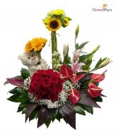 All in One Flowers Arrangement with Bear