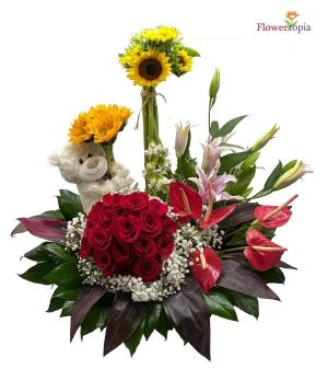 All in One Flowers Arrangement with Bear in Miami, FL | FLOWERTOPIA