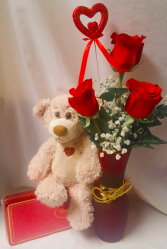'ALL IN ONE'...gold heart vase with 3 red roses,  heart pic, box of chocolates and medium bear!! All for the price of $63.00.