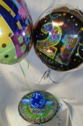 All in One: Includes two Happy Birthday mylars and a Giant Chocolate Chip Cookie! If you want a 21st. H.B. mylar then specify in special instruction area when ordering. NEED 30 HOUR NOTICE FOR DELIVERY.(Balloons may look different than shown...what ever is in stock)