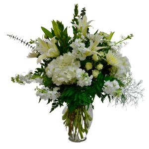 All in White Vase arrangement in Coral Springs, FL | Hearts & Flowers of Coral Springs