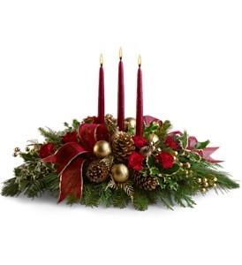 All is Bright Holiday Centerpiece in Whitesboro, NY | KOWALSKI FLOWERS INC.