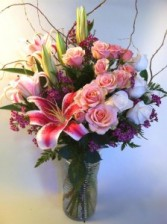 All My Love Bouquet Vase Arrangement With Stargazer Lilies