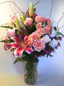 All My Love Bouquet Vase Arrangement With Stargazer Lilies in Bethel, CT | BETHEL FLOWER MARKET OF STONY HILL