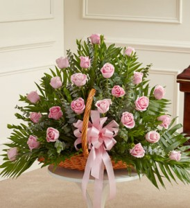 All Pink Fireside Basket  in New Port Richey, FL | FLOWERS TODAY FLORIST