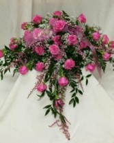 All pink roses casket spray Casket spray