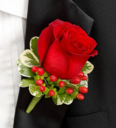 ALL RED BOUTINNIERE Prom Boutonniere