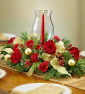 All Red Holiday Centerpiece by Enchanted Florist