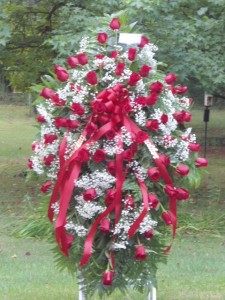 All Red Rose Spray Standing Piece in Bowerston, OH | LADY OF THE LAKE FLORAL & GIFTS