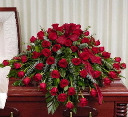 All Red Roses Half Casket Spray Funeral