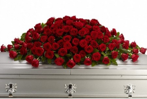 all rose casket cover sympathy in Covington, GA   A Bouquet By Betty