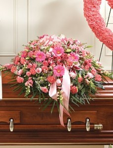 SWEET COMFORT  Half Casket Spray of shades of pink flowers. Roses, gerbera daisies, carnations, snapdragons and more