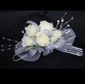 ALL SILVER CORSAGE PROM CORSAGE