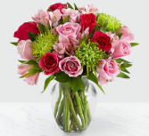 ALL THE FRILLS PINK AND GREEN FLOWERS IN VASE
