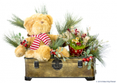 All the Trimmings ***Faux Flowers***Tin Sleigh in Trunk