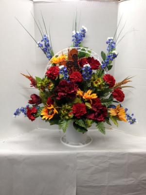 All Things Bright Silk Funneral Basket in Brenham, TX | THE FLOWER MARKET
