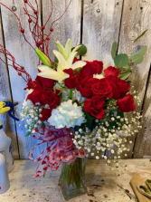 All time Elegance red roses/lillies/and filler