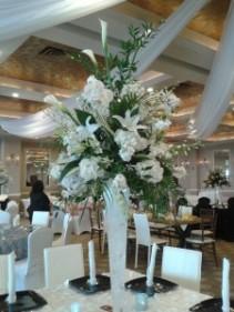 All white Arrangement Stunning tall arrangement