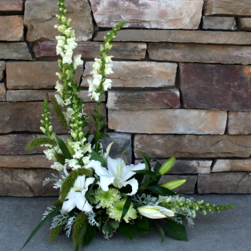 All White A-Symmetrical Design Sympathy Vase Arrangement