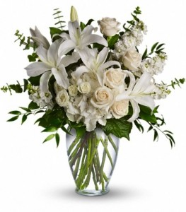 All white arragement Vased in Tampa, FL | MILLY'S FLOWERS