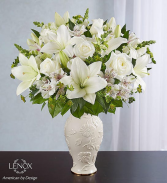 ALL WHITE ARRANGEMENT IN LENOX VASE
