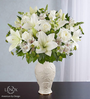 ALL WHITE ARRANGEMENT IN LENOX VASE  in Lexington, KY | FLOWERS BY ANGIE