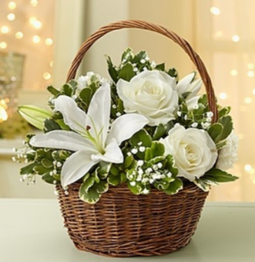 All White Basket Arrangement