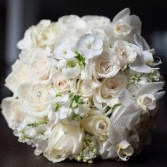 All white bouquets are so soft and elegant For both a Bride and can be made smaller for your girls..prices vary due to size.