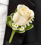 ALL WHITE BOUTINNIERE Prom Boutonniere